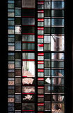 Sash pane. Broken colored glass window Stock Photo