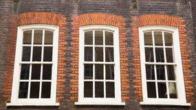 Sash windows. Traditional english sliding sash windows Stock Images