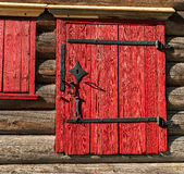 Sash Windows. Window in the side wall of historic log cabin Royalty Free Stock Image