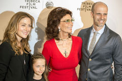 Sasha Alexander, Lucia Sofia Alexander, and Edoardo Ponti. Proad Mama, Oscar-winner Sophia Loren, arrives on the red carpet with her son, Edoardo Ponti, daughter Royalty Free Stock Images