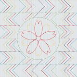 Sashiko Abstract Naadloos Patroon Sakura Flower royalty-vrije illustratie