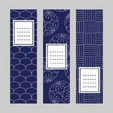 Sashiko banner set. Japanese embroidery ornaments. vector illustration