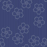 Sashiko motif - blooming cherry flowers. Floral backdrop. Needle Royalty Free Stock Photos