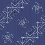 Sashiko motif - blooming cherry flowers. Needlework texture. Stock Images