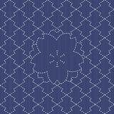 Sashiko motif - blooming cherry flowers and waves. Seamless pattern. Royalty Free Stock Photo
