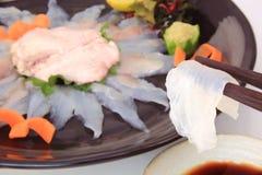 Sashimi żagla filefish z wątróbką, Japoński jedzenie Fotografia Royalty Free