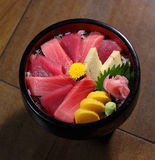 Sashimi. Top shoot of a bowl of sashimi Royalty Free Stock Photos