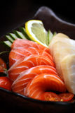 Sashimi. Japanese food Sashimi, raw salmon fish slices stock photo