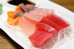 Sashimi. On dish in Japanese style stock images