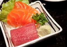 Sashimi. Traditional Japanese food Sashimi made from fresh raw fish, with wasabi royalty free stock images
