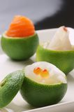 Sashimi. In the bowl made with citrus Royalty Free Stock Images