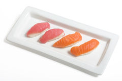 Sashimi. On a white plate with clipping path Royalty Free Stock Photo