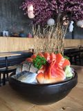 Sashimi big size. Salmons Mackerels and Cockle Sashimi in big size very tasty delicious for lunch and dinner with you special ones Stock Image
