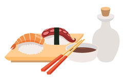 Sashimi and chopstick vector illustrations. Sushi and soy sauce vector. Seafood, fish fillet Stock Image