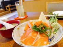 Sashimi con arroz japonés Fotografía de archivo
