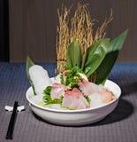 Sashimi d'espadons avec le gari de radis, de citron et de gingembre Images libres de droits