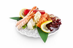 Sashimi de sushi d'isolement sur le fond blanc Image stock