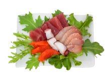 Sashimi del giapponese dell'insalata del pesce crudo Fotografia Stock