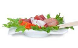 Sashimi del giapponese dell'insalata del pesce crudo Immagini Stock
