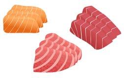 Sashimi del salmone e del tonno Fotografia Stock Libera da Diritti
