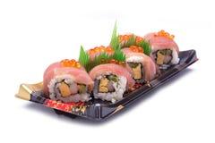 Sashimi del sushi con los salmones del huevo Fotografía de archivo libre de regalías