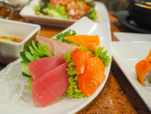 Sashimi on dish. Sashimi is a japanese food on white dish stock photography