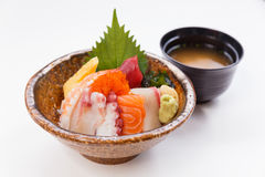 Sashimi Don Served with Seaweed, Wasabi, Prickle Ginger and Miso Soup Royalty Free Stock Photography