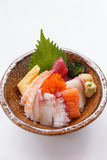 Sashimi Don Served with Seaweed, Wasabi, Prickle Ginger and Miso Soup Royalty Free Stock Photos