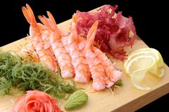 Sashimi ebi on a board Stock Image