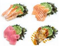 Sashimi. Four different types of sashimi isolated on white background stock photo