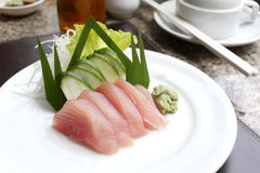 Sashimi of fresh tuna (Seafoods Sushi) on white dish. Sashimi of fresh tuna (Seafoods Sushi) on white dish in restaurant,Traditional of Japanese Food Stock Photos