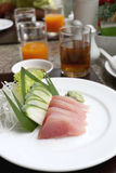 Sashimi of fresh tuna (Seafoods Sushi) on white dish. Royalty Free Stock Photo