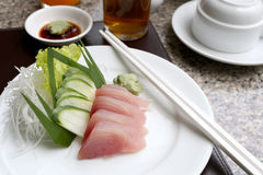 Sashimi of fresh tuna & x28;Seafoods Sushi& x29; on white dish. Stock Image
