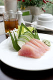 Sashimi of fresh tuna (Seafoods Sushi) on white dish. Royalty Free Stock Photography