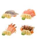 Sashimi getrennt auf Weiß Stockfoto