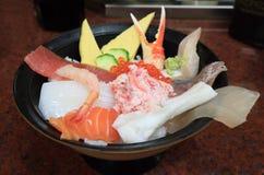 Sashimi giapponese dei frutti di mare dell'alimento Fotografie Stock