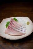 Sashimi giapponese della ricciola di cucina Fotografie Stock