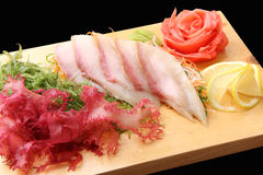 Sashimi hamachi on a board Stock Photos