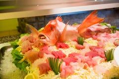 Sashimi on ice. Fresh sashimi on ice,Japanese cooking Royalty Free Stock Image