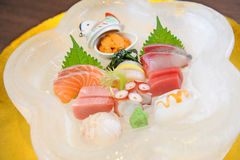 Sashimi on ice plate Royalty Free Stock Image