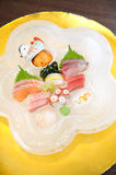 Sashimi on ice plate Stock Images