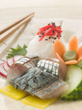 Sashimi of Mackerel with Pickled Daikon Salad and. Plate of Sashimi of Mackerel with Pickled Daikon Salad and Vinegar Rice with chopsticks royalty free stock images