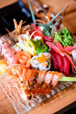 Sashimi Matsu. Sweet shrimp, squid, surf clam, tuna, yellowtail stock image