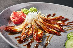 Sashimi mit Aal, Gemüse und Soße Stockbilder