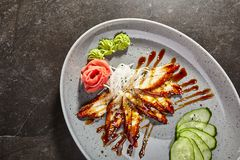 Sashimi mit Aal, Gemüse und Soße Stockbild