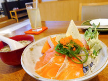 Sashimi mit japanischem Reis Stockfotografie