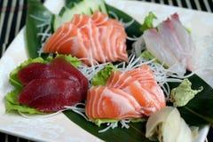 Sashimi mix. With tuna salmon, branzino stock images