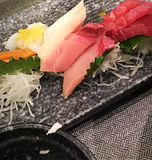 Sashimi. Mixed sashimi in Japanese restaurant stock photo