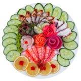 Sashimi och gurka Arkivfoton