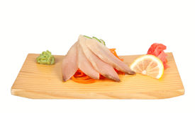 Sashimi with perch isolated on white Royalty Free Stock Photo